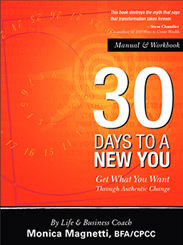 30 Days To A New You. Self-help book by Monica Magnetti Life Coach and Business Consultant. Make a change!